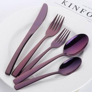 20ピース高級ブルーカトラリーセットステンレス鋼食器セット黒レストランカトラリーナイフフォークセット西洋食器
