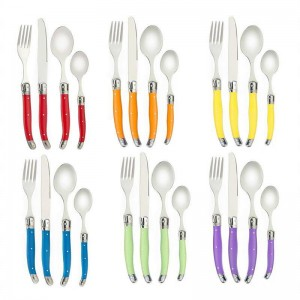 24ピースラギオールスタイル虹食器セットステンレス鋼ステーキナイフディナーフォーク小さじキッチンカトラリーセットパーティーギフトケーキ