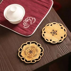 6ピースラウンド竹コーヒーコースターセット滑り止めマットテーブル装飾アクセサリー花カップパッド中空彫刻手作り木製
