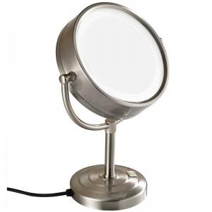 8.5インチ10倍拡大両面両面化粧台照明付き化粧鏡の上に立ってニッケル仕上げ、7倍