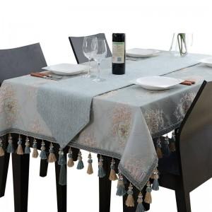 素晴らしいデザイン刺繍入りテーブルクロス高級ブルージャカードタッセルToalhaデメサロイヤルNリネンダイニングテーブルカバー