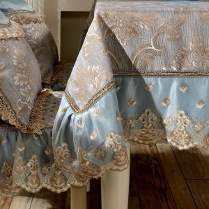 素晴らしいデザインジャカードテーブルクロスブルー/イエローレース高級フェスティバル結婚式現代の部屋の装飾テーブルクロス/カスタムテーブルカバー