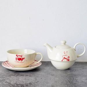 アメリカンカントリースタイル動物牛豚チキンチキン柄セラミックダブルポットカップとソーサー午後紅茶コーヒー