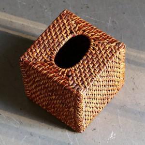 アメリカンデザイン籐手作りティッシュボックス織スクエアトレイ底なしデスクトップナプキンボックスブラウン15×15センチ