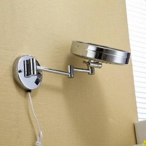 """風呂ミラー8 """"壁掛けラウンド片側浴室用ミラーLED化粧化粧鏡拡大鏡レディースプライベートミラー2098"""