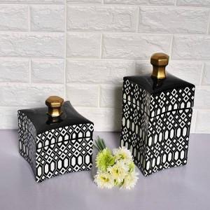 黒と白の幾何学模様の装飾的な鍋シンプルなファッション北欧スタイルのセラミック曲面表面ホームソフト装飾花瓶