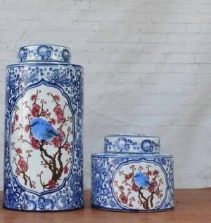 青と白の釉薬の装飾品花と鳥の磁器鍋装飾円形新古典的な家の家具セラミック瓶花瓶