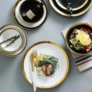 セラミックビーフの大皿家庭用朝食プレートシンプルでクリエイティブなヨーロッパの野菜大皿とゴールドエッジ食器