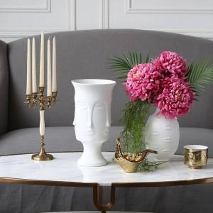 セラミック花瓶ミューズフェイスリップ多面的な花瓶家の装飾花瓶人工花ジュエリー