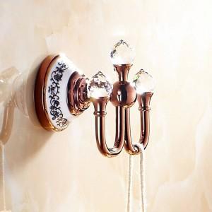 クリスタルローブフック、洋服フック真鍮クローム仕上げ、エレガントなバスルームハードウェアローブフック、バスルームアクセサリー6306