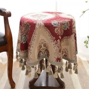 優雅な刺繍のタッセルのテーブルクロスの結婚式のテーブルカバーのテーブルクロスのTapete Toalha De Mesaのナップ・マントル、Tovaglia Rettangolare