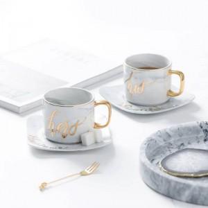 ヨーロッパの文学大理石のセラミックコーヒーカップとソーサーセットアフタヌーンティーブラックティーカップ