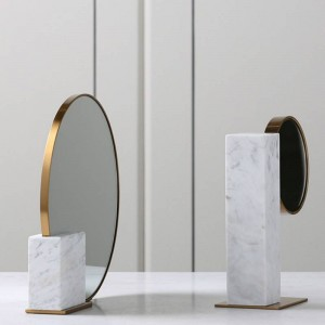 ヨーロッパのミニマリストの高級金属大理石ガラスミラー装飾柔らかい装飾家の寝室のデスクトップの装飾GIF
