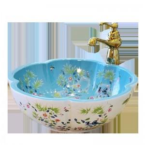 ヨーロッパ式の花の形の芸術の洗面器の洗面器の浴室は陶磁器の洗面器の花および鳥パターンを流します