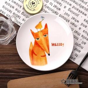 ファッションスタイル8 *インチ直径骨セラミック平板漫画パターン磁器食器サラダ寿司ケーキ皿