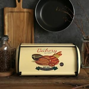 フランスのヴィンテージパンボックス収納ビンロールアップトップライトグレー小さな粉末コーティングパン鉄スナックボックス用キッチン家の装飾