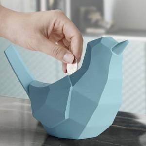 幾何学的な鳥貯金箱樹脂ミニチュア置物工芸像用ホームデコレーションかわいいギフト用おもちゃ子供子供貯金箱鳥