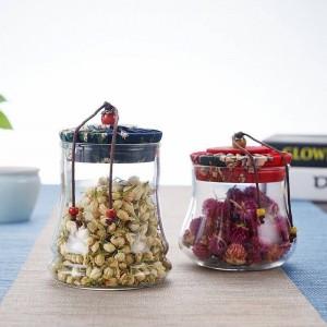 スパイスのためのコルク栓が付いているガラス瓶乾燥されたフルーツの気密の艶をかけられたPotjes家の貯蔵は装飾的なBorosilicaをびん詰めにします