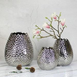 ゴールデン花瓶シンプルモダンウェーブオープンハンマーポイントセラミックシルバー花瓶北欧ホームゴールデンフラワーデコレーション