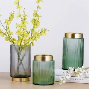 緑のカラフルなガラス花瓶ゴールド花瓶植木鉢プランター家装飾花瓶