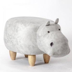 カバ形動物オスマン収納フットレストスツールパッド入りシートカバスツールプーフ愛らしいベンチとして子供ギフト、おもちゃ箱