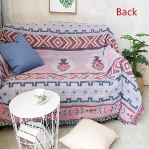 インドスタイルジオメトリ投げ毛布ソファ装飾的なスリップカバーコバーター飛行機旅行ヴィンテージ滑り止めステッチ毛布用ベッド