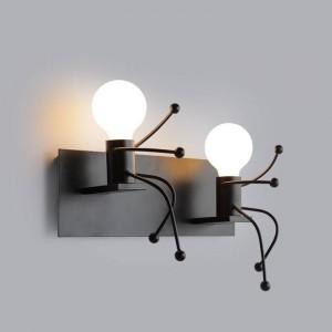 室内装飾ヴィンテージクリエイティブ男性シェイプウォールランプかわいいライトダブルヘッドSconce E27 ledランプac 85-240ボルトウォールライト