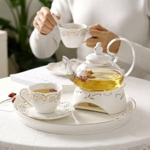 日本のティーポットセラミックティーセットフルーツトレイ加熱ガラスポットエレガントなセラミックカップ皿ギフト