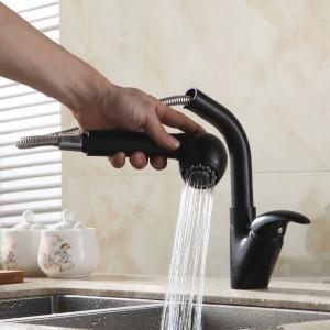 キッチン蛇口真鍮ブラック360回転キッチンシンクの蛇口キッチン水タップデッキマウントミキサーtorneira cozinha 7110