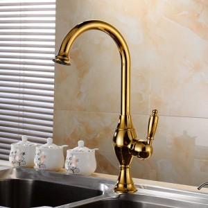 キッチン蛇口真鍮デッキキッチンシンクの蛇口背の高い回転注ぎ口シングルレバー穴ミキサー水ミキサータップTorneira Cozinha 9001