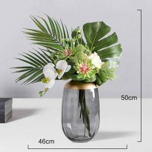 ライト高級ガラス花瓶水耕透明フラワーアレンジメント装飾リビングルームテーブル装飾花瓶装飾