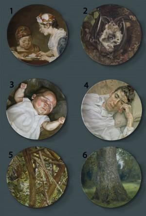 ルシアンフロイトPaintign装飾プレート吊りプレートスピリチュアルワールドセラミック皿リアルなキャラクター絵画アイリッシュパブの装飾