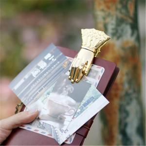高級シックなオフィス用紙収納クリップイン鍛造ゴールドヴィンテージ手形状合金ドキュメントハンドブック収納クリップホームシーリングクリップ