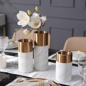 金属花瓶ヨーロッパ現代大理石花瓶ホームリビングルームの装飾レストランデスクトップソフト装飾装飾品