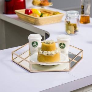 ミラー六角形トレイモダンミニマリストモデルルームメタルホームデコレーションコーヒーテーブルカップフルーツデザート収納トレイ