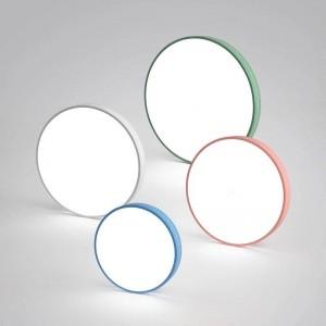 現代のマカロンシーリングライトラウンドカラフルなアイアンランプボディアクリルランプシェードホワイエキッズルーム天井ランプled照明器具