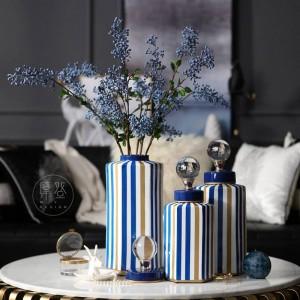 現代の縞模様の装飾的な収納タンク花瓶ヴィラモデル柔らかい装飾