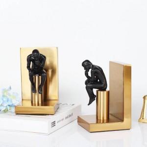 現代の研究ブロンズメタル装飾品による本の装飾品家庭用家具ヨーロッパの抽象文字ブックエンド