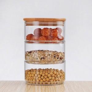 新しい1200ミリリットル3層メイソンボロシリカガラス瓶キッチン食品バルクコンテナセット用スパイスドライフルーツ収納缶サラダボウルボックス