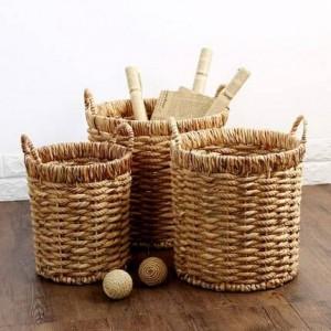 ラウンドバッタハンドル収納バケツ草ロープ編組タオル衣類収納屑仕上げゴミバスケット
