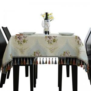 ロイヤル高級刺繍入り王女のテーブルクロス結婚式のテーブルクロスジャカードtoalhaデメサタッセルモデルルームダイニングテーブルカバー
