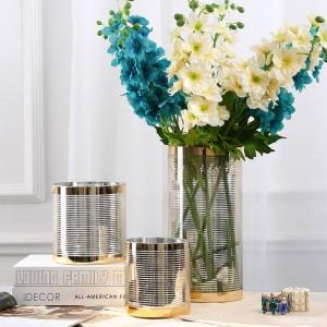 サンプル部屋ガラス花瓶植木鉢プランター輝くライン高級インテリア花瓶植木鉢クリスタル