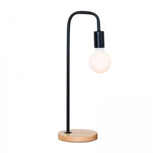 シンプルなテーブルランプモダンなブラックホワイトカラーメタルウッドデスクランプ装飾ランプクリエイティブE27 3ワットled電球ノルディックライト