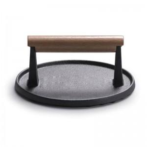 縞模様の鋳鉄ステーキプレートプロの肉プレスツール鉄板焼きパンプレス屋外バーベキューツールピクニックアクセサリー