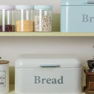 ヴィンテージパンボックス食器棚鉄スナックボックスデスクトップ仕上げ防塵収納ボックス収納ビンキーパー食品キッチン棚の装飾
