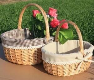 籐籐バスケットポータブルフルーツバスケットピクニックバスケット卵と花のショッピングギフトバスケット