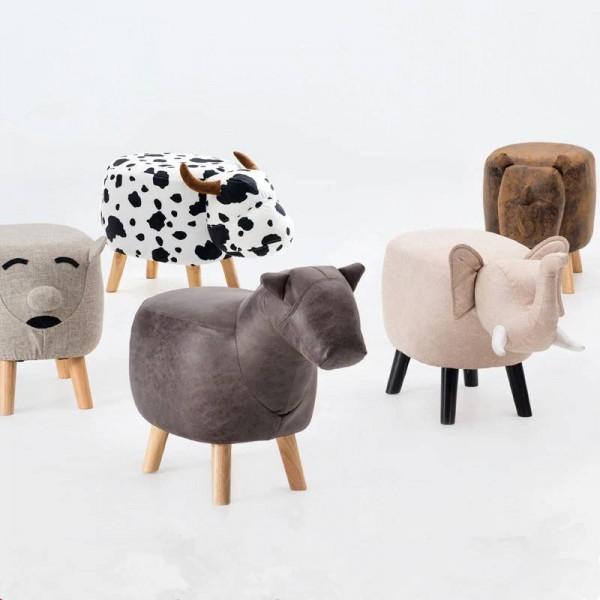 Animal Stool Series Poggiapiedi imbottito con poggiapiedi con poggiapiedi Sgabello con vivaci adorabili caratteristiche simili a animali Elefante Cavallo Pecora Mucca