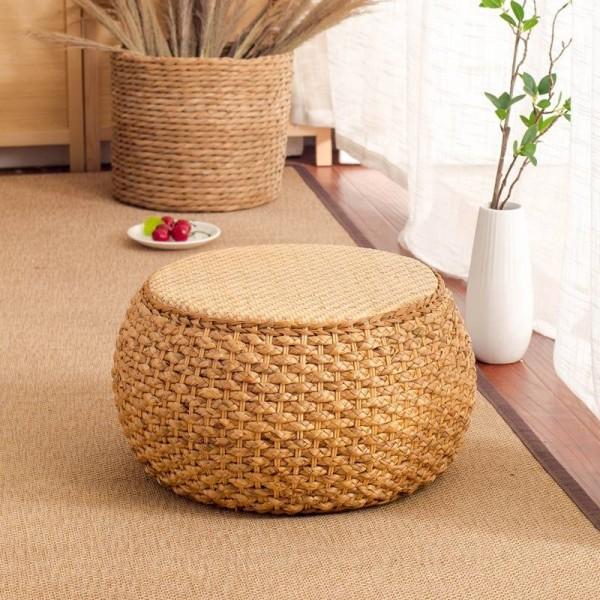 Collezione casa Sgabello piccolo in rattan Poggiapiedi pouf moderno Sgabello rotondo per soggiorno Den Camera da letto Sedia in rattan Modernità
