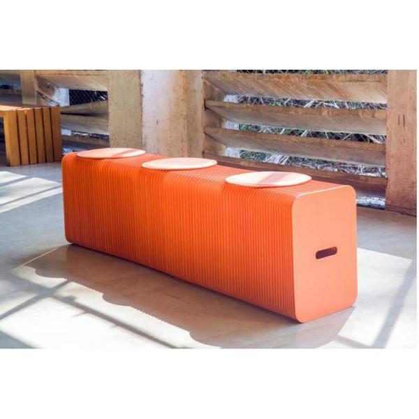 Mobili per la casa Design moderno Sgabello pieghevole in carta Panca lunga Divano Sedia Carta kraft Panca relax Sgabello Panca con 3 cuscinetti in pelle