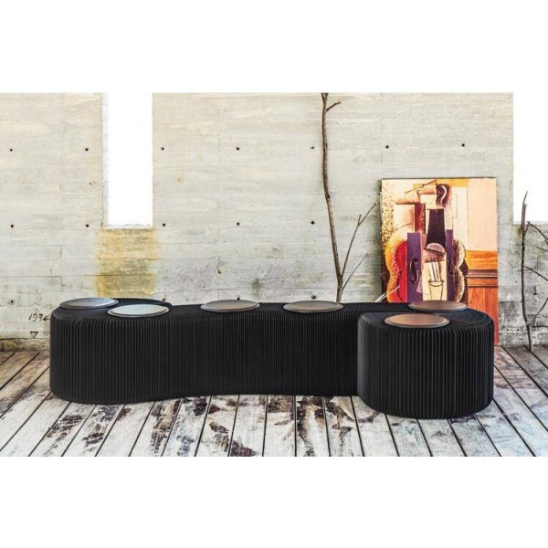 Sgabello moderno Panca pieghevole-Design in carta di moda con 6 cuscinetti in pelle Panca con sedile lungo per patio e decorazioni per la casa Sgabello portatile Sedia